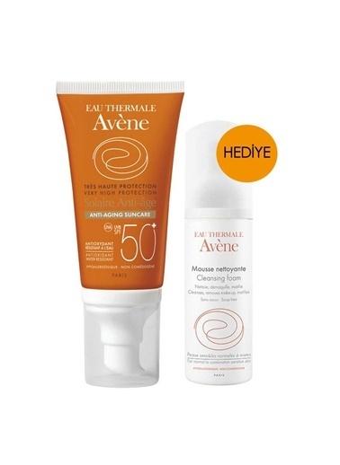 Avene Avene Solaire Anti-Age Suncare Spf50+ 50 Ml Alana Temizleme Köpüğü 50 Ml Hediye Renksiz